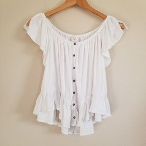 Free People White Off Shoulder Blouse Top M